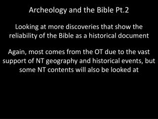 Archeology and the Bible Pt.2