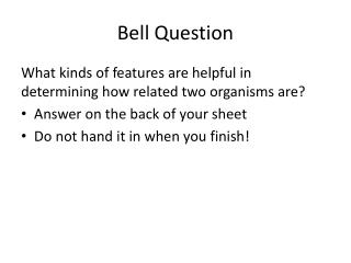Bell Question