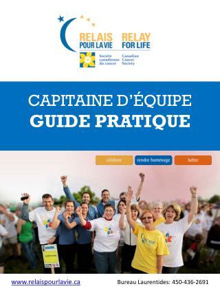 CAPITAINE D'ÉQUIPE GUIDE PRATIQUE
