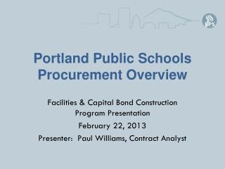 Portland Public Schools Procurement Overview