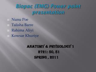 Biopac  (EMG) Power point presentation
