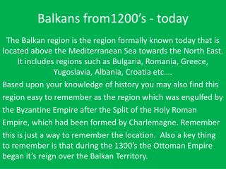 Balkans from1200's - today