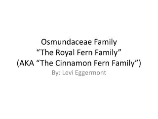 "Osmundaceae Family ""The Royal Fern Family"" (AKA ""The C innamon Fern Family"")"