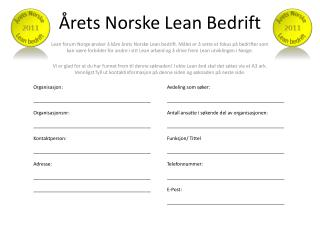 Årets Norske Lean Bedrift
