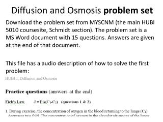 Diffusion and Osmosis  problem set