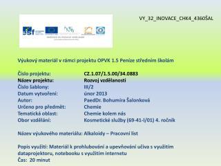 Výukový materiál v rámci projektu OPVK 1.5 Peníze středním školám