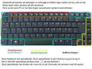 Noen tastaturer har spesialtaster. Disse spesialtaster er p� 7,8,9,0,u,i,o,p,j,k,l,� og m.