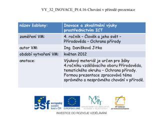 VY_32_INOVACE_Př.4.16-Chování v přírodě-prezentace