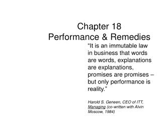 Chapter 18 Performance  Remedies
