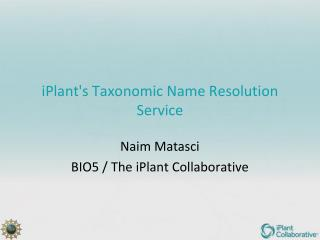 iPlant's  Taxonomic Name Resolution Service