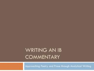 Writing an IB Commentary