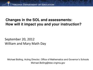 September 20, 2012 William and Mary Math Day