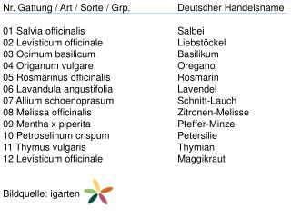 Nr. Gattung / Art / Sorte /  Grp . Deutscher Handelsname 01  Salvia officinalis Salbei