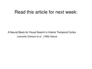 Read this article for next week: