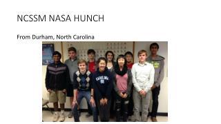 NCSSM NASA HUNCH