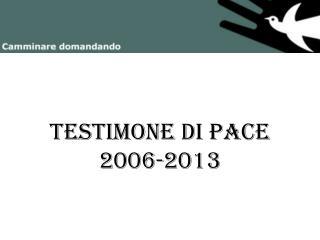 Testimone di pace 2006-2013