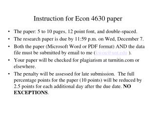 Instruction for Econ 4630  paper