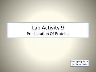 Lab Activity 9 Precipitation Of Proteins