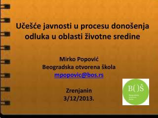 Učešće javnosti u procesu donošenja odluka u oblasti životne sredine