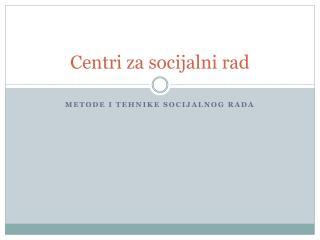 Centri za socijalni rad
