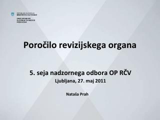 Poročilo revizijskega organa