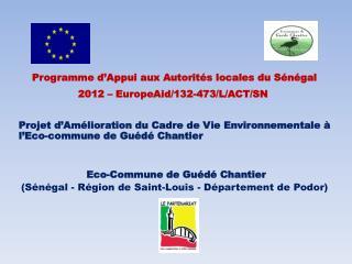 Programme d'Appui aux Autorités locales du Sénégal 2012 – EuropeAid/132-473/L/ACT/SN