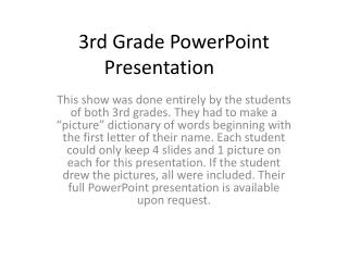 3rd Grade PowerPoint Presentation