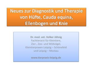 Neues zur Diagnostik und Therapie von Hüfte, Cauda  equina , Ellenbogen und Knie