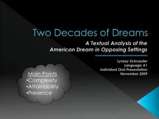 Two Decades of Dreams