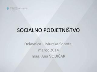 SOCIALNO PODJETNIŠTVO