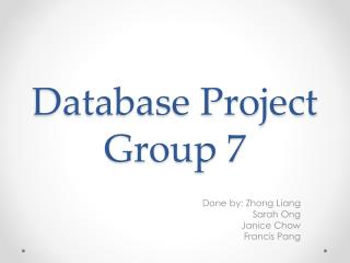 Database Project Group 7