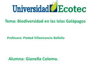 Tema: Biodiversidad en las Islas Galápagos