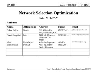 Network Selection Optimization