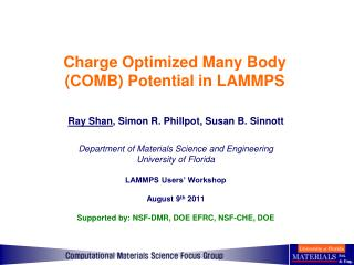 Charge Optimized Many Body (COMB) Potential in LAMMPS