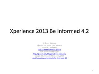 Xperience  2013 Be Informed 4.2