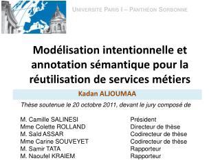 Modélisation intentionnelle et annotation sémantique pour la réutilisation de services métiers