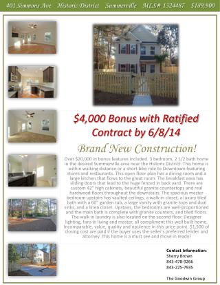 $4,000 Bonus with Ratified Contract by 6/8/14