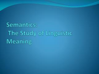 Semantics:  The Study of Linguistic Meaning