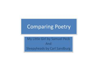 Comparing Poetry