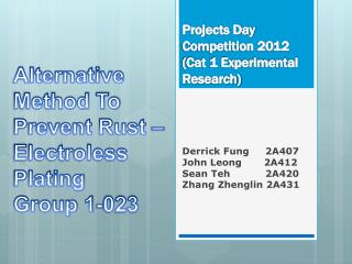 Projects Day Competition 2012  (Cat 1 Experimental Research)