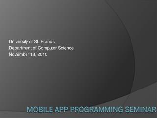 Mobile App Programming Seminar