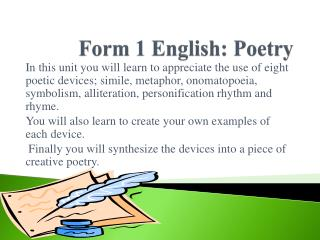 Form 1 English: Poetry