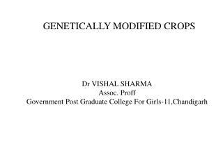 Dr VISHAL SHARMA Assoc.  Proff Government Post Graduate College For Girls-11,Chandigarh
