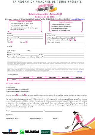 Bulletin d'inscription - Edition 2009  Ramasseurs de balles