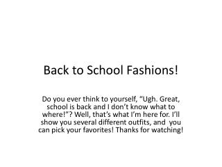 Back to School Fashions!