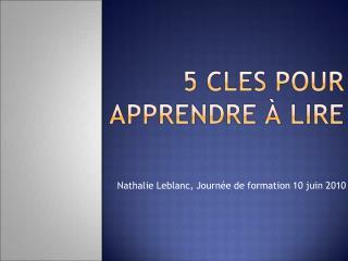 5 cles pour apprendre