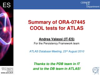 Summary of ORA-07445  COOL tests for ATLAS