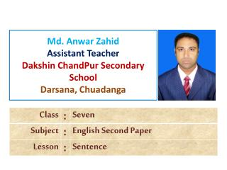 Md. Anwar Zahid Assistant Teacher Dakshin ChandPur Secondary School Darsana, Chuadanga