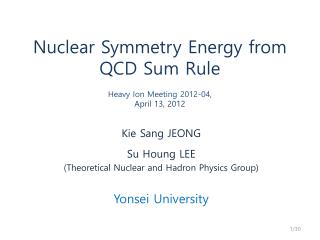 Nuclear Symmetry Energy from QCD Sum Rule Heavy Ion Meeting 2012-04 ,  April 13, 2012