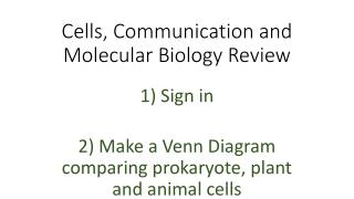 Cells, Communication and Molecular Biology Review